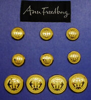 10 ANN FREEDBERG Gold Tone Blazer Replacement Buttons by Waterbury Good Cond.