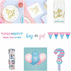 Gender Reveal Baby Shower Decorations Balloons Banners Plates Napkins Straws