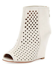 NWT Rebecca Minkoff SIENNA Perforated Wedge Open Toe Bootie,Putty SZ10,Orig:$295