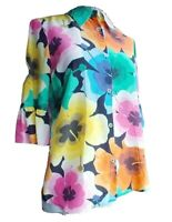 Love Moschino Womens Silk Floral Button Down Shirt Flutter Sleeves Size Large