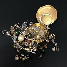 Lot Of Sterling Silver And Gold Plated Jewelry Findings Metal Amethyst Box 54gr