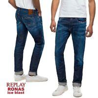 Jeans uomo REPLAY taglia W38 pantalone stretto RONAS ICE BLAST slim fit vintage