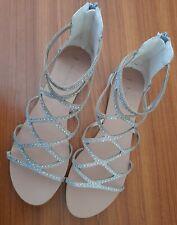 Ladies Womens Gladiator Sandals UK Size 9, Fits 10, Silver Diamante
