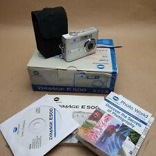 KONICA MINOLTA DiMAGE E500 DIGITAL CAMERA, BOXED,CASED, WITH ACCESSORIES