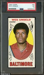 1969 Topps Basketball #56 Wes Unseld Baltimore Bullets RC Rookie HOF PSA 5 EX