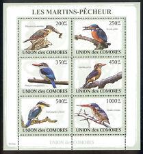 Comoro Islands - 2009 s/s of 6 Kingfishers #1089 cv $ 14.50 Lot # 97