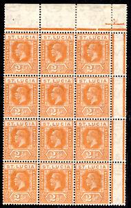 ST LUCIA SG97, 2½d orange, NH MINT BLOCK. Cat £192