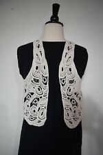 Zara Basic Cream Crochet Lace Vest Cream Women's Size Small