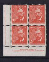 Australian Pre-Decimal Stamps 1948 William Farrer IMPRINT Corner Block of 4  MNH