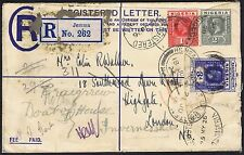 1926 Nigeria Registered Jemma Stationery Envelope to London Redirected Inverness