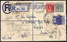 1926 Nigeria Registered Jemma Stationery Envelope to London Redirected Inverness