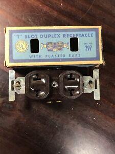 NOS Vintage BROWN Bakelite EAGLE Electrical DUPLEX Outlet Receptacle 797