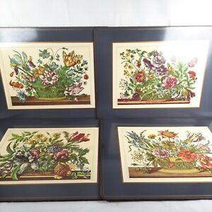4 Vintage Pimpernel Placemats Floral Bouquet Cork Back 4 Different Baskets