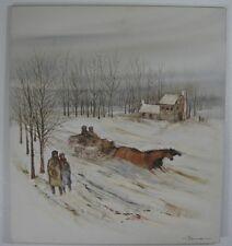 Vicente Carneiro (1927 - 2005) Brazilian Original Oil 36X40 Winter Sleigh Ride