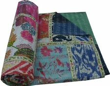 Indian Handmade Mix Print Patchwork Twin Cotton Kantha Quilt Throw Blanket