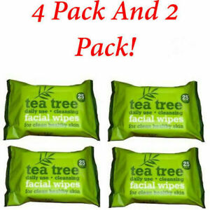 4 x 25 And pack Tea Tree Daily Use Cleansing Facial Face MakeUp 25 Wipes