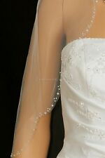 1T Ivory Elbow Scallop Beaded Edge Bridal Wedding Veil