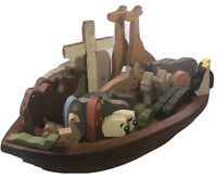 "Noahs Ark Vtg Handmade Stained Wood Boat Painted Cross Noah Animals 22""x 11""x4"""