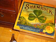 """Orange crate end  SHAMROCK  brand from California14"""" X14""""on wood 1950's?"""