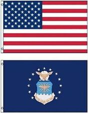 United States Air Force + Usa American Polyester 3x5 Foot Flag Set of 2 Banner