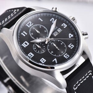 41mm CORGEUT Black Dial Datum Silber Edelstahl Gehäuse Quarz Uhr Men's Watches