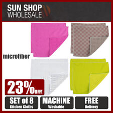 MICROFIBER Set of 8 Premium Kitchen Cloths! Pefect for S/S Glass Benchtop More!