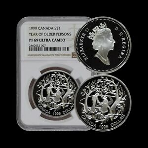 CANADA. 1999, Dollar, Silver - NGC PF69 - Year of Older Persons, RARE
