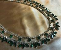 VINTAGE Sparkling Emerald Green & Clear Rhinestone Glass Necklace Choker