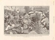 1901 ANTIQUE PRINT - CHINESE PROCESSION AT PERTH