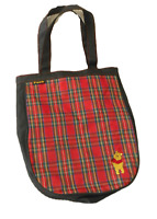 DISNEY Winnie POOH Bear Red & Black PLAID TOTE BAG Over Shoulder Book Bag