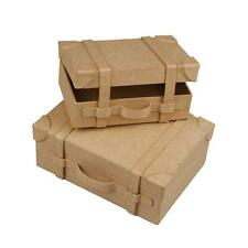 2 x Mini Suitcases Shape Boxes Craft Boys Storage Hand Made Paper Mache Decorate