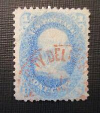 1861 US S#63 1¢ Benjamin Franklin, blue VG Used (City Delvy??) Red Stamped
