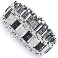 6 ct Black & White Sim Diamond Men's Link Bracelet 14k White Gold Finish Silver