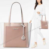 NWT 🍭 Michael Kors Gemma Large Pocket Tote Leather Soft Pink Fawn Mauve