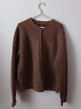 CC Filson Brown Tan Knit Pullover 100% Lambswool Wool Sweater Size L