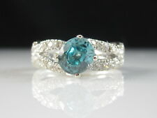 Blue Zircon Diamond Ring 14K White Crossover Gold Oval Fine Jewelry Size 7.5