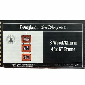 """DISNEY PARKS 3 Wood Charm 4"""" X 6"""" Hanging Frame Mickey RARE RETIRED NEW"""