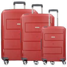 Travelite Makro 4-Rollen Kofferset Trolley-Set Hartschale 3tlg (rot)