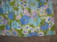 "Mod Retro Pleated Floral Turquoise and Green Curtain Pleated 2 Panels 23"" x 55"""