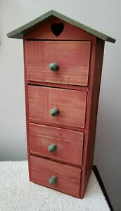 Small Red Wood Chest of 4 Drawers