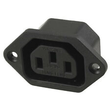 AC 250V 10A IEC 320 C13 Panel Mount Plug Connector Socket Black LW