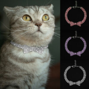 Rhinestone Dog Collar Pet Puppy Cat Crystal Collar Girl Jeweled Bow Tie Necklace