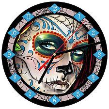 """8"""" WALL CLOCK Sugar Skull 10 Dia de los Muertos Day of the Dead Halloween Tattoo"""