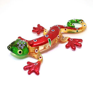Glass Blowing Gecko Figurine Red Craft Miniature Hand Blown Art Collectible