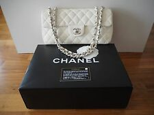 """Authentic 10"""" Chanel Perforated Classic Flap Shoulder Bag Cream White SHW Boxed"""