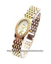 Omax Ladies Diamonte White Dial Watch, 2-Tone Finish, Seiko Movt. RRP £69.99
