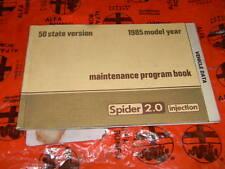 Alfa Romeo Spider 1985 Maintenance Program Manual