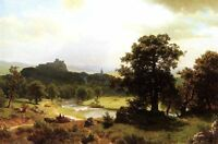 Nice Oil painting Albert Bierstadt - Days Beginning family & carriage Landscape
