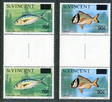 St Vincent 463-464, MNH. Gutter pair. Fish, New value surcharged, 1976.  x12148