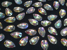 CraftbuddyUS 50 7x12mm Sew On  AB Clear Teardrop Resin Rhinestone Crystal Gems